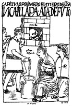 Ayala's 1615 drawing of Inca king performing ceremonial offering to ancestors
